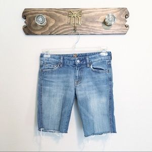7 for all Mankind Frayed Bermuda Jean Shorts 27